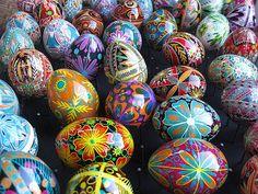Pysanka - batik egg on chicken egg shell, Ukrainian Easter egg
