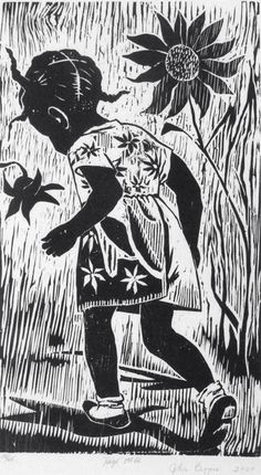 Hazel, 2000, Woodcut by John Biggers