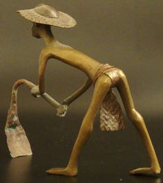 Brass Farmer, Benin City #554 | Figures | Metal — Deco Art Africa - Decorative African Art - Ethnic Tribal Art - Art Deco