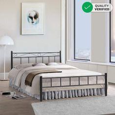 FurnitureKraft London King Size Metal Bed (Glossy Finish, Black): Amazon.in: Home & Kitchen Indian Furniture, Comfort Mattress, Box Bed, Furniture Assembly, Metal Beds, Black Bedding, Queen Size Bedding, Double Beds, Bed Sizes