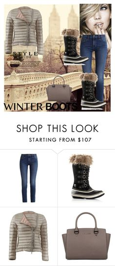 """""""Soo Winter boots"""" by babis117 ❤ liked on Polyvore featuring Calvin Klein, SOREL, Moncler and Michael Kors"""