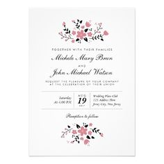 Pretty Floral Modern Stylish Wedding Invitation design by pinkpinetree Couples Shower Invitations, Rehearsal Dinner Invitations, Engagement Party Invitations, Custom Invitations, Invitation Design, Invitation Cards, Invites, Wedding Rehearsal, Invitation Wording