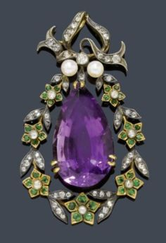 Amethyst, diamond, peridot, pearl, silver and gold pendant, circa 1890. A decorative drop-shaped pendant of a wreath of floral and leaf motifs set throughout with small peridots and rose-cut diamonds, the centre set with 1 flexibly mounted pendant with 1 drop-cut amethyst. The eyelet additionally decorated with 1 diamond-set bow motif and 2 small pearls.