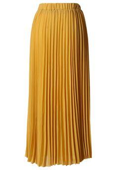 Chiffon Mustard Pleated Maxi Skirt by: Chicwish