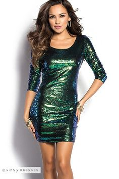 """""""Kylie"""" Emerald Green Short Sequin Party Dress with Sleeves"""