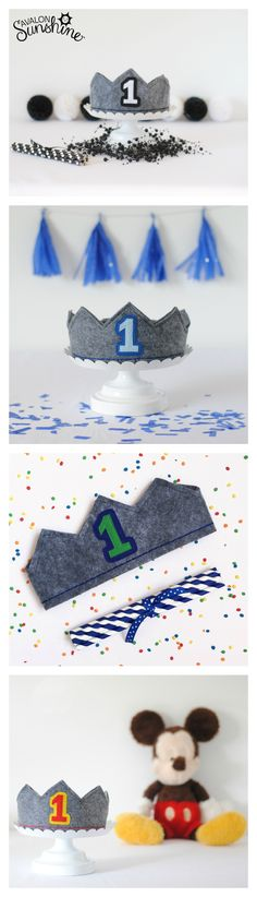 Birthday crowns for boys in lots of different colors.  Perfect for first birthday party and cake smash photo sessions.