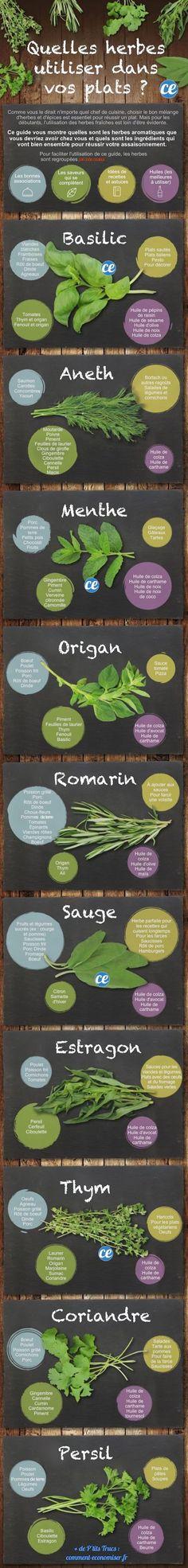 Tableau des utilisations des herbes aromatiques dans les plats