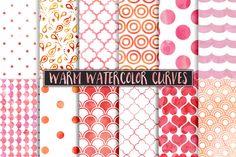 Warm Watercolor Polka Dot Patterns @creativework247