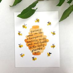 Diy Cards Discover Watercolor Bee Wall Art Print Painting Bible Verse Scripture Honeycomb Bee Nursery Home Decor Honey Bee Gifts Proverbs Gracious Words Honey Comb Bible Verse Wall Art Bee by HappyHartCo Bible Verse Wall Art, Bible Art, Bible Verses, Bible Verse Painting, Calligraphy Quotes Scriptures, Canvas Painting Quotes, Bee Painting, Easy Canvas Painting, Canvas Quotes