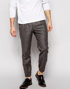 Image 1 ofASOS Slim Fit Smart Pleat Joggers in Tweed