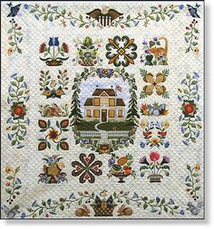 Heartland Block of the Month This American Sampler Quilt features a center medallion block with a wonderful Turn-of-the-Century home, complete with a cat walking on a white picket fence. The pictorial scene is surrounded with a wreath of trees, vines, flowers, berries, birds and bees. Fifteen sampler appliqué blocks and graceful borders complete the quilt.