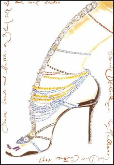 1997 - Manolo Blahnik shoe illustration for Christian Dior Couture by John Galliano,