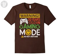 Mens 20th Birthday Gift Shirt 20 Years Old in Gaming Mode Gamer Large Brown - Birthday shirts (*Amazon Partner-Link)