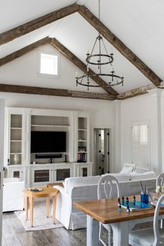beams, whitewashed & mixed wood tones