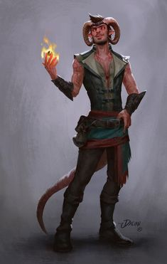Tiefling mage - fire power RPG character inspiration - male DnD / Pathfinder character