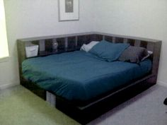 Corner bed made from cube shelving