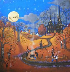 The Best Caramel Apples In Town  a Original Halloween Witch Apple Orchard painting By Deborah Gregg