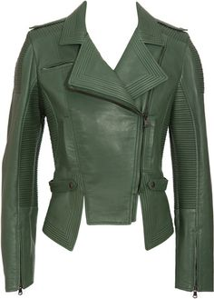 My closet needs this. Versus Leather Biker Jacket with Seams Designer Leather Jackets, Green Leather Jackets, Coats For Women, Jackets For Women, Clothes For Women, Cool Coats, Fashion Capsule, Leather Fashion, Types Of Fashion Styles
