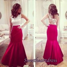 Elegant long prom dress, ball gown, unique design ivory lace wine red chiffon evening dress for prom 2016 #coniefox #2016prom