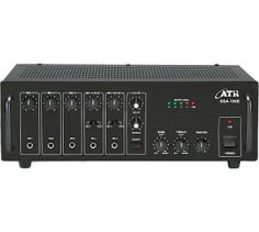 SSA-100E: 100Watts PA #Amplifier with Digital Echo		  Power Output: 130W Max., 100W RMS at 10% THD  Input Channel: 5 x Mic 0.65mV/4.7kΩ, 2 x Aux 100mV/470kΩ Digital Echo: Echo facility on all inputs through Echo repeat & delay controls providing Echo... Reverb... Chorus... Effect Tone Controls: Bass: ±10dB at 100Hz, Treble: ±10dB at 10kHz Outputs: Preamp 200mV/600Ω, Line 1V/1kΩ Speaker Outputs: 4Ω, 8Ω, 16Ω, 70V & 100V  www.atracoustics.com