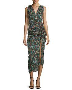 Teagan Fall Garden Printed Silk Midi Dress, Black/Multicolor by Veronica Beard at Neiman Marcus.