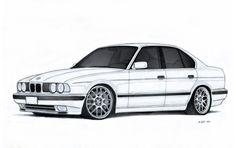BMW 540i E34 Drawing by Vertualissimo.deviantart.com on @DeviantArt