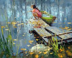Indian summer - Alexi Zaitsev - Sale of paintings and other art works Landscape Art, Landscape Paintings, Landscapes, Russian Art, Fine Art, Beautiful Paintings, Painting Inspiration, Oeuvre D'art, Watercolor Paintings