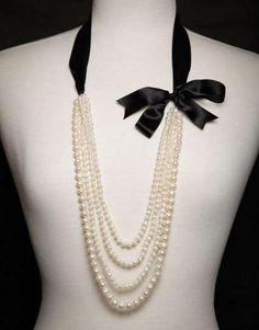 Idea para collar de perlas largo
