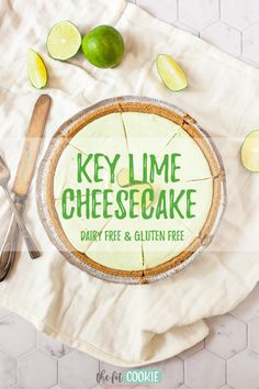 Want the perfect cool and fruity treat for summer? Make our dairy free and gluten free Key Lime Cheesecake! It's no bake (perfect for hot days) and made without cashews. | thefitcookie.com #dairyfree #glutenfree #cheesecake #nobake #keylime Dairy Free Cheesecake, Key Lime Cheesecake, Easy Cheesecake Recipes, Easy Gluten Free Desserts, Gluten Free Cookie Recipes, Gluten Free Cakes, Dairy Free Whipped Cream, Key Lime Flavor, Lime Cream