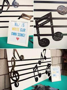 Music notes guest book, written by students and their parents for the teacher Wedding Music, Wedding Guest Book, Diy Wedding, Dream Wedding, Wedding Ideas, Jazz Wedding, Wedding Stuff, Beatles Party, The Beatles