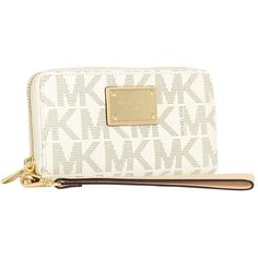 MICHAEL Michael Kors Jet Set Large Clutch ($98) ❤ liked on Polyvore featuring bags, handbags, clutches, white handbags, white purse, michael kors handbags, michael kors clutches and white clutches