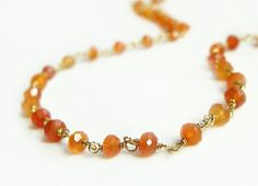 Gold Layering Necklace wire wrapped with Rich Orange Carnelian Summer Fashion Jewelry