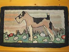 Antique American Folk Art Hooked Airedale Terrier Dog Rug