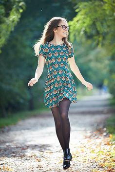 Sun dress with tights