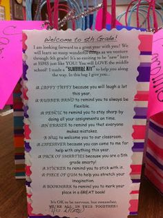 Middle School Survival Kit--I did something similar for my last year's Homeroom. Since I will have the same students (plus or minus) I will have to come up with something else. But let me tell you, they LOVED it!