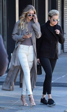 See what it looks like when Kardashian stylist Monica Rose dresses Gigi Hadid (seen here in ripped white skinny jeans and a long coat with her mom Yolanda Foster)
