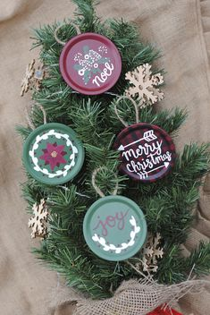 Rustic hand made and hand painted Christmas tree ornaments made from a jar lid. Fits in perfectly with rustic Christmas decor! Looks great on any tree! Ornaments are about 3 inches. Choose from the drop down which ornament you would like or get all four as a set! You may select only