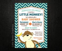 Monkey Chevron Printable Baby Shower or by LittleBeesGraphics