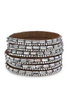 Jules B Silver-Tone Haute Hippie Chic Crystal Leather Wrap Bracelet