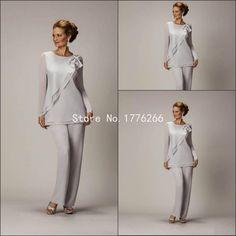 2015 Plata Madre de la novia Pant trajes para Madre de la novia del novio Señoras barato de las mujeres por encargo vestidos de noche de FF195
