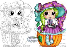 INSTANT DOWNLOAD Digital Digi Stamps Big Eye Big Head Dolls Messy Bessy IMG913 My Besties By Sherri Baldy