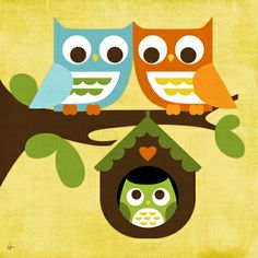 Owl Baby Canvas Reproduction - so perfect for an owl-themed nursery!