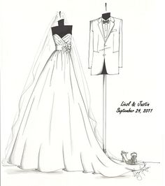 Business Creates Custom Sketches of Wedding Gown.. What a Great Idea!!