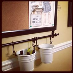 Homeschool/Dining Room/Study Makeover Complete! JP   :: IKEA buckets  Conveniently and prettily holds my white board markers and erasers.       image by julesnpebbles - Photobucket