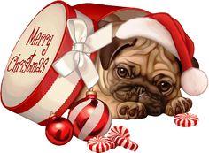 View album on Yandex. Merry Christmas Baby, Christmas Cats, Plan Image, Animal Cutouts, Baby Pugs, Pug Art, Cute Pugs, Christmas Illustration, Pug Love