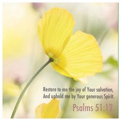 Restore unto me the joy of thy salvation; and uphold me with thy free spirit. (Psalms 51:12 KJV)