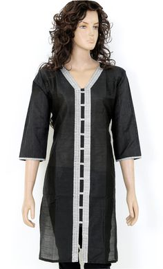 Indian Ethnic Embroidered Black Semi Raw Silk Ladies Women Top / Kurti / Kurta Kurthi Kurtha - S / M / L / XL / XXL Embroidery work 902875 on Etsy, $13.99