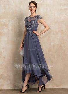 A-Line Scoop Neck Asymmetrical Chiffon Lace Mother of the Bride Dress With Beading - JJ's House Source by of the bride dresses Mother Of Bride Outfits, Mother Of Groom Dresses, Mothers Dresses, Mother Of The Bride, Mother Mother, Formal Dresses With Sleeves, Mob Dresses, Bride Dresses, Wedding Gown A Line