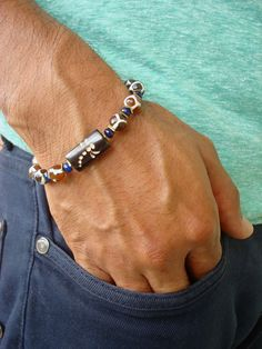 Men's Spiritual Protection, Serenity Bracelet with Semi Precious Tibetan Fire Agates, Blue Jade, Hematites, Carved Dragonfly Bone- Boho Men by tocijewelry on Etsy