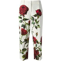 Dolce & Gabbana rose print brocade trousers ($1,665) ❤ liked on Polyvore